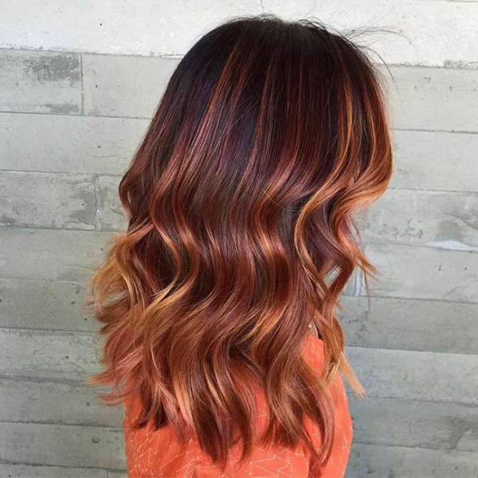 With all the new hair trends floating around, it is hard to keep up.  Balayage has been popular for some time and it looks like it's here to stay.  If you are thinking of having a makeover with your hair, you should consider having Balayage hair.  Balayage hair is a French technique that means to sweep or to paint.  The colour is applied by freehand so no foil or caps are needed.  It creates natural looking locks and can be subtle or bold.  You don't have to stick to one hair technique, many people are choosing to mix balayage with ombre to create a unique style.  The choice is yours.  Copper tones are warm and work so well in the fall.  Natural looking shades look fab and amazing.  We have found 25 copper balayage hair styles that look stylish, gorgeous and you will definitely be the envy of all your friends! 1. Dark to Copper Ombre Hair  Do you have dark roots? Instagram / aqua_mdyyc Dark roots to copper ombre hair looks great.  Opting for lighter hair tips, will show off your hair cut and colour. 2. Bright Copper Lowlights  Many people tend to dye their hair darker in the cold seasons and lighter in summer.