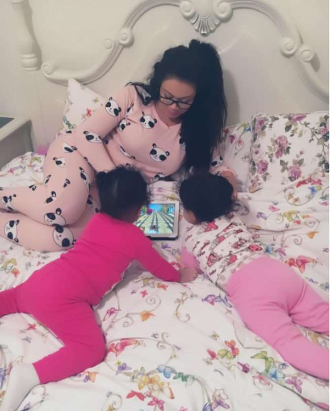 Ghanaian actress, Nadia Buari and her twins daughters