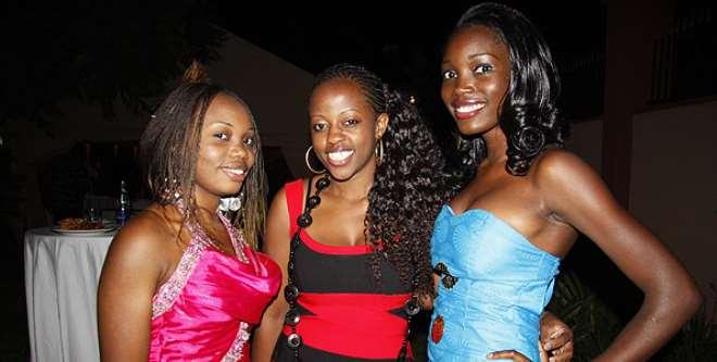 Mombasa-based actress Mariam Ada (left) and friends Sarah (centre) and model Diana Nekoye.