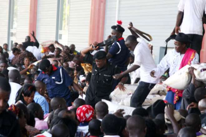 Beating by the officers in charge at the venue.