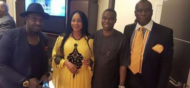 With Jim Iyke, His Excellency Immanuel Emoefe and the Power Look…Kese Jabari at the dinner jointly hosted by both top Georgia powerful men.