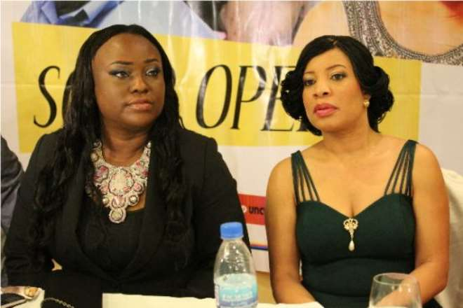 Emem Isong and Monalisa Chinda, Producers of 'Catwalq' at the Media Launch.