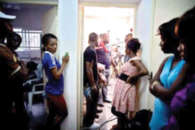 Aspiring actresses at an audition venue