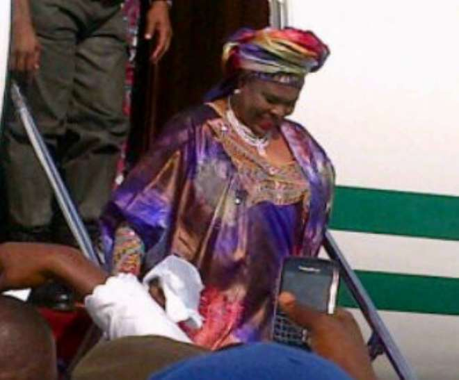 Dame Patience Jonathan at the airport this evening