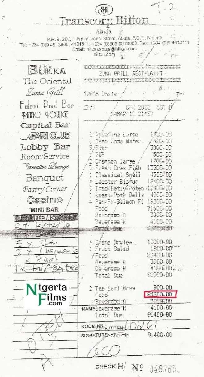 hilton hotel receipts