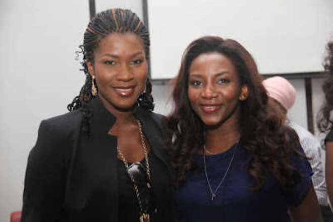Stephanie with Genevieve at the AMVCA press conference in 2012