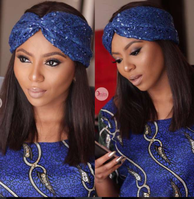 Anita Brows makeup for blue outfit