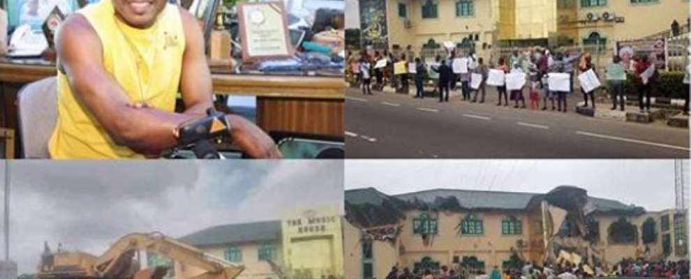 Gov. Ajimobi Show's Off Political Power, Demolishes Singer, Ayefele's N800m Music House