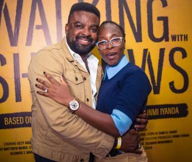 kunle afolayan and xeenarh mohammed at walking with shadows movie premiere