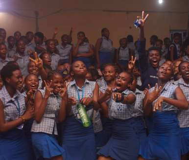 excited students at queens college 4