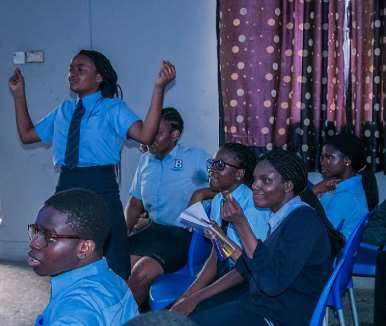 student reaction during the spoken word session