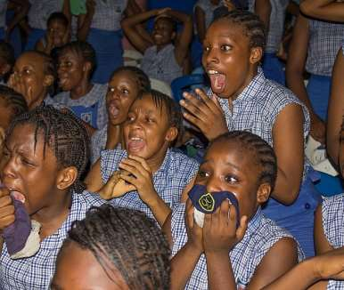 students stunned by the dance performance